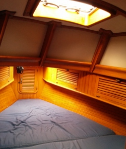 Beautiful woodwork in the v-berth of the Passport 37