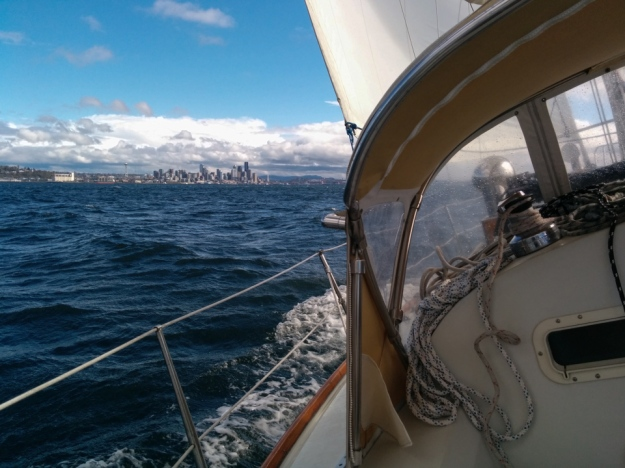 Sailing on the Sound in 24 knots.
