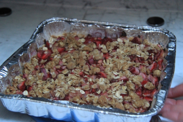 Strawberry rhubarb crumble dessert Natalie made