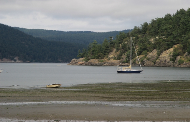 Both our sailboat and PortaBote dinghy visible in one shot! Low tide at Spencer Spit.