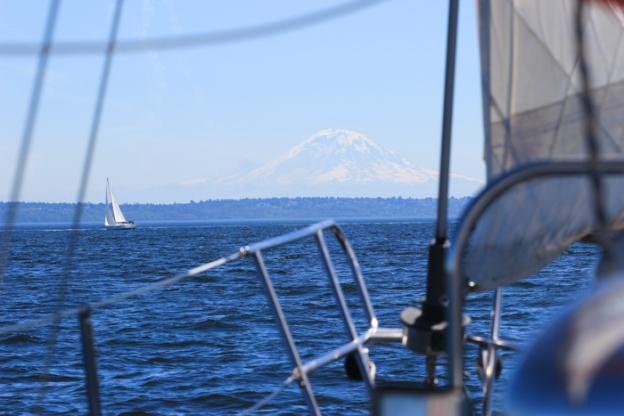 Our last day - with a failing transmission but a 12 knot wind at our backs, I pointed the bow pointed at Mount Rainier and we sailed home.