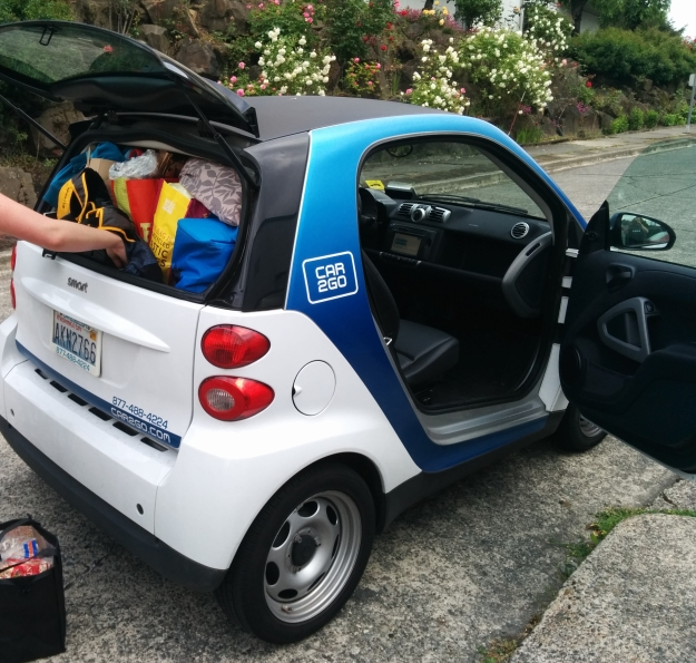 We can fit a lot of stuff in a tiny Car2Go when we're packing for a trip
