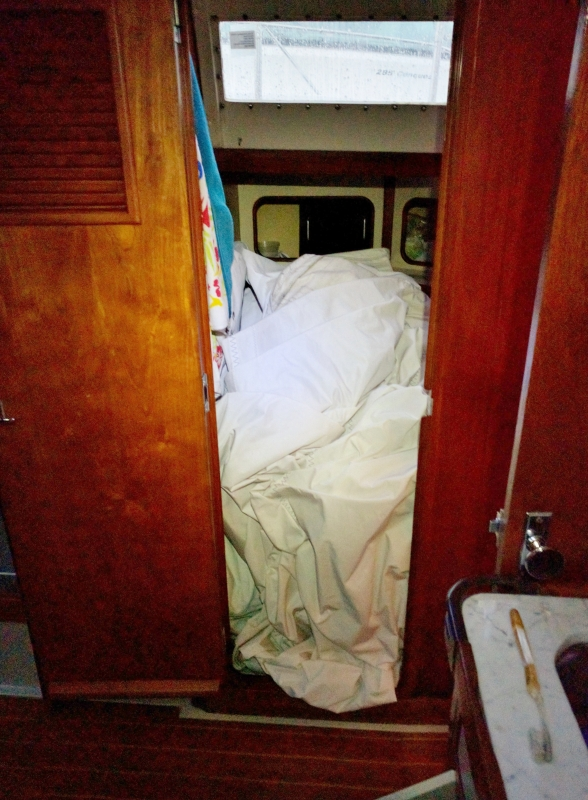 This was the first time we had taken the genoa down! Dumbly, we didn't fold it, and found lugging a heavy unwieldy large sail into the cabin was really difficult. And the head was the best place to store it out of the way of other projects!
