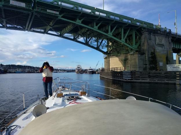 Passing under the Ballard Bridge with no mast